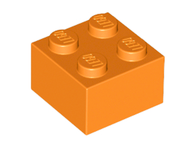 Bulk Lot of 2x2 LEGO® Brick (Orange)